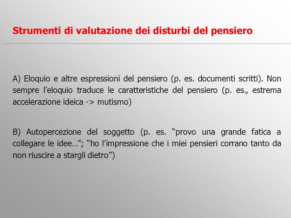Strumenti di valutazione dei disturbi del pensiero A) Eloquio e altre espressioni del pensiero (p. es. documenti scritti). Non sempre leloquio traduce