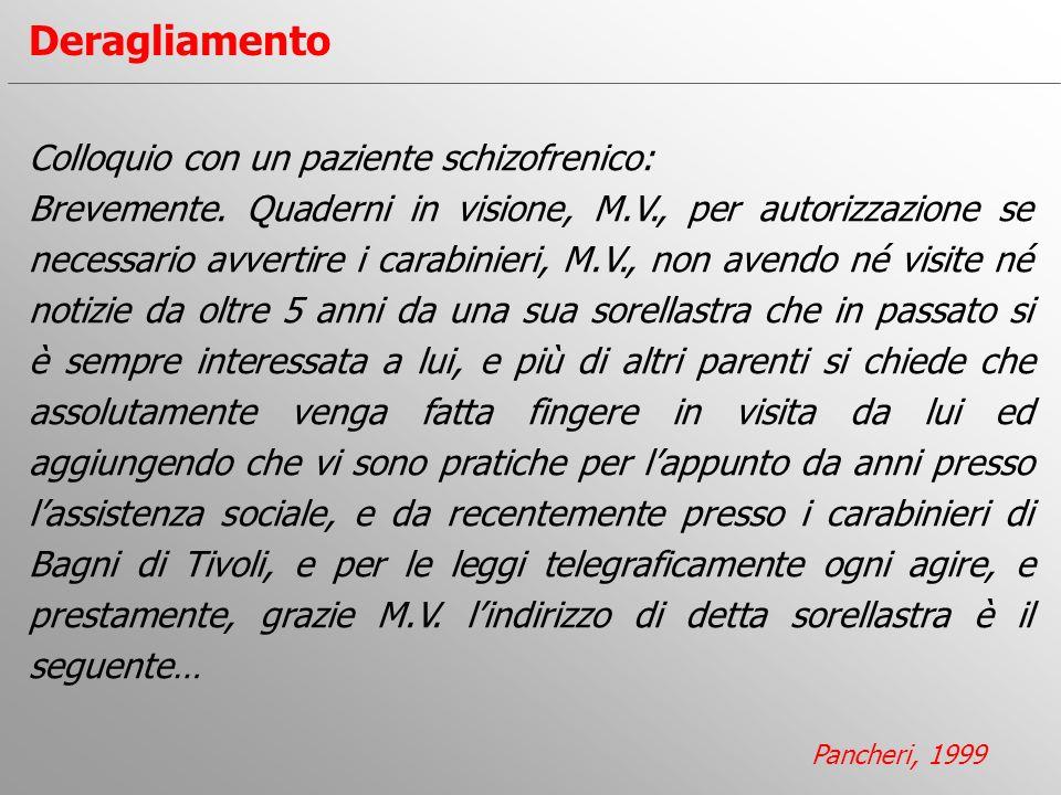 Colloquio con un paziente schizofrenico: Brevemente. Quaderni in visione, M.V., per autorizzazione se necessario avvertire i carabinieri, M.V., non av