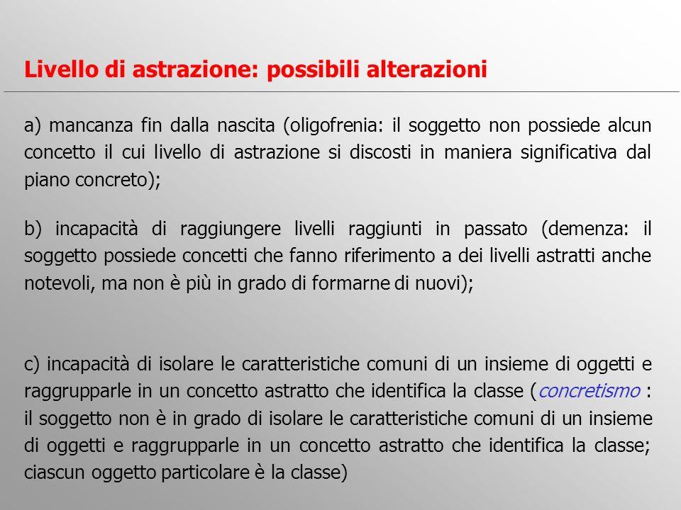 a) mancanza fin dalla nascita (oligofrenia: il soggetto non possiede alcun concetto il cui livello di astrazione si discosti in maniera significativa