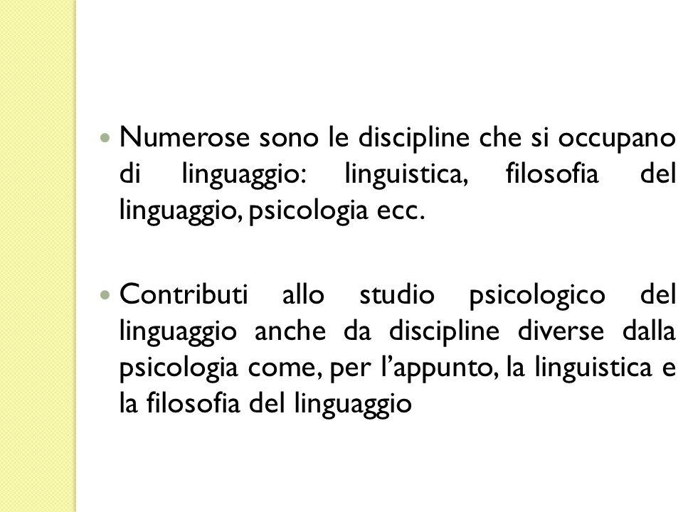 Numerose sono le discipline che si occupano di linguaggio: linguistica, filosofia del linguaggio, psicologia ecc. Contributi allo studio psicologico d