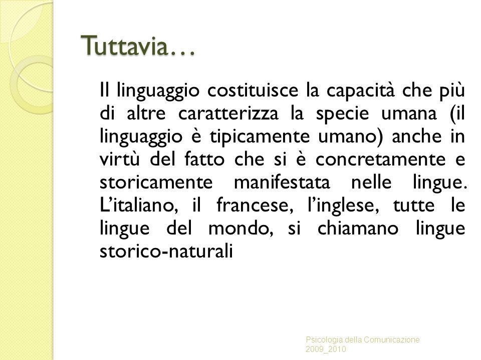 Tuttavia… Il linguaggio costituisce la capacità che più di altre caratterizza la specie umana (il linguaggio è tipicamente umano) anche in virtù del f