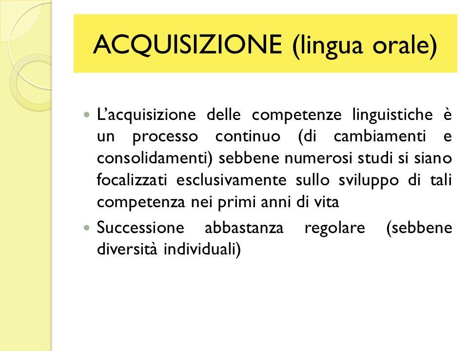 ACQUISIZIONE (lingua orale) Lacquisizione delle competenze linguistiche è un processo continuo (di cambiamenti e consolidamenti) sebbene numerosi stud