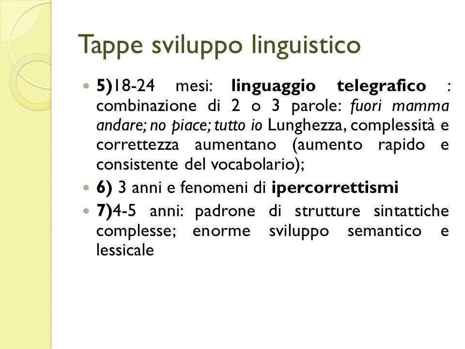 Tappe sviluppo linguistico 5)18-24 mesi: linguaggio telegrafico : combinazione di 2 o 3 parole: fuori mamma andare; no piace; tutto io Lunghezza, comp