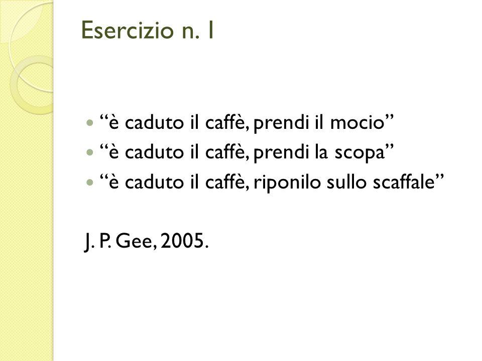 Esercizio n. 1 è caduto il caffè, prendi il mocio è caduto il caffè, prendi la scopa è caduto il caffè, riponilo sullo scaffale J. P. Gee, 2005.