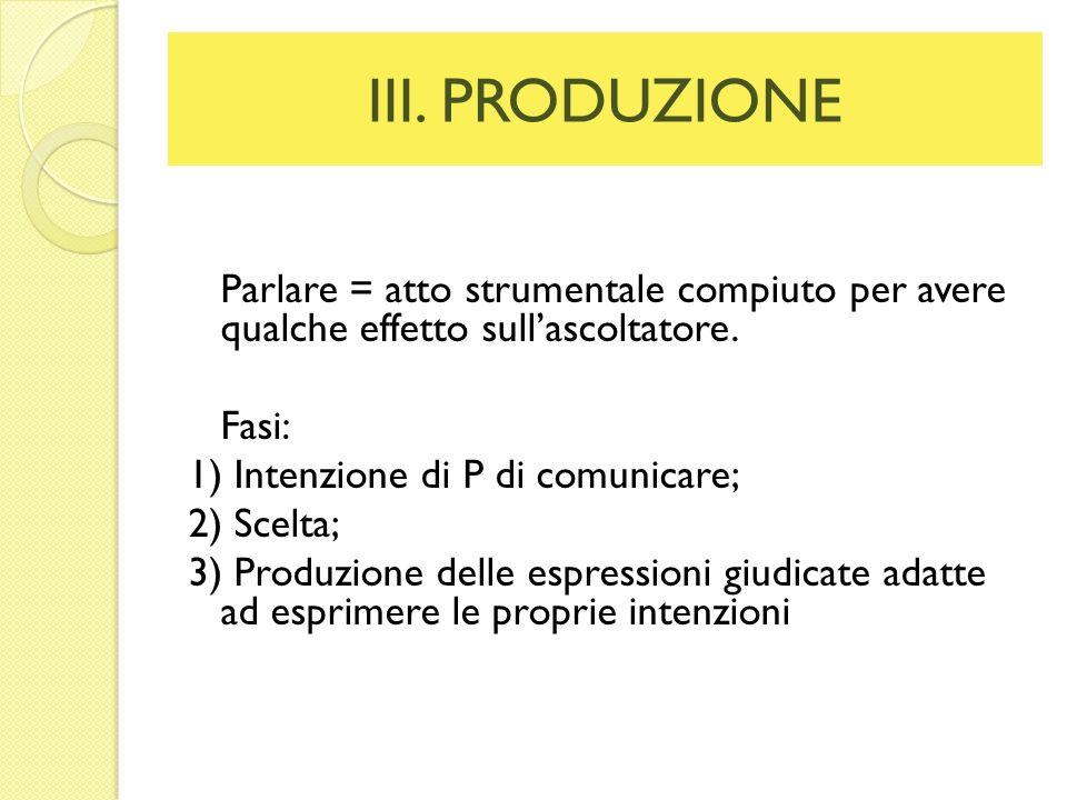 III. PRODUZIONE Parlare = atto strumentale compiuto per avere qualche effetto sullascoltatore. Fasi: 1) Intenzione di P di comunicare; 2) Scelta; 3) P