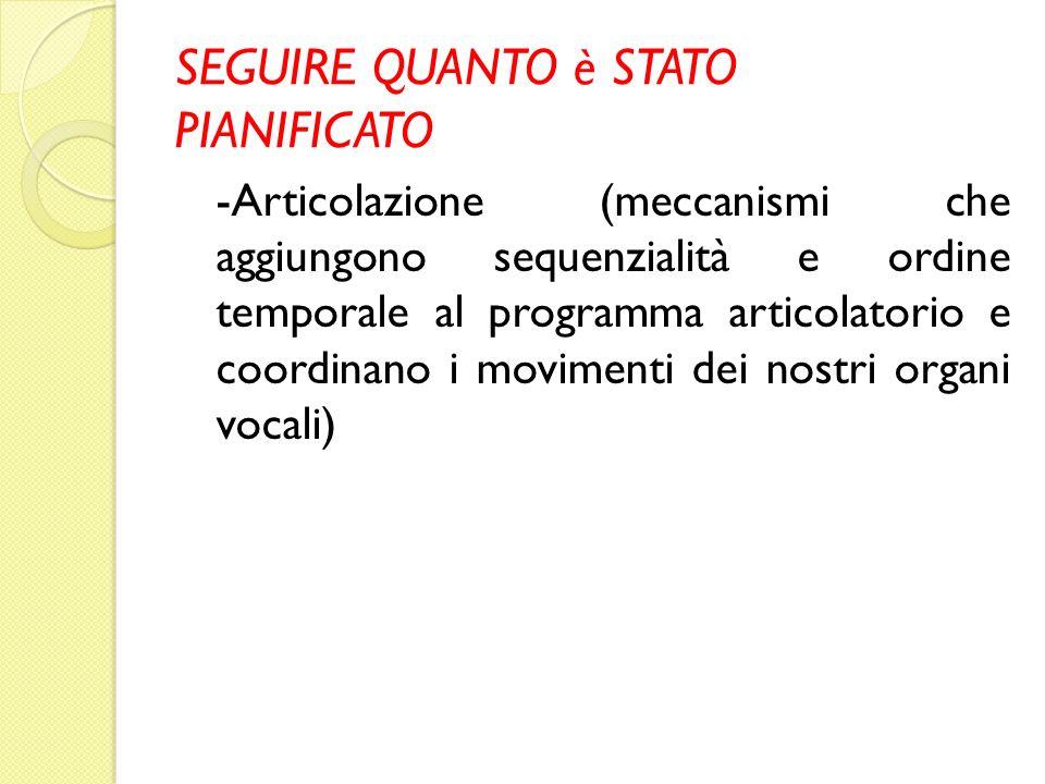 SEGUIRE QUANTO è STATO PIANIFICATO -Articolazione (meccanismi che aggiungono sequenzialità e ordine temporale al programma articolatorio e coordinano