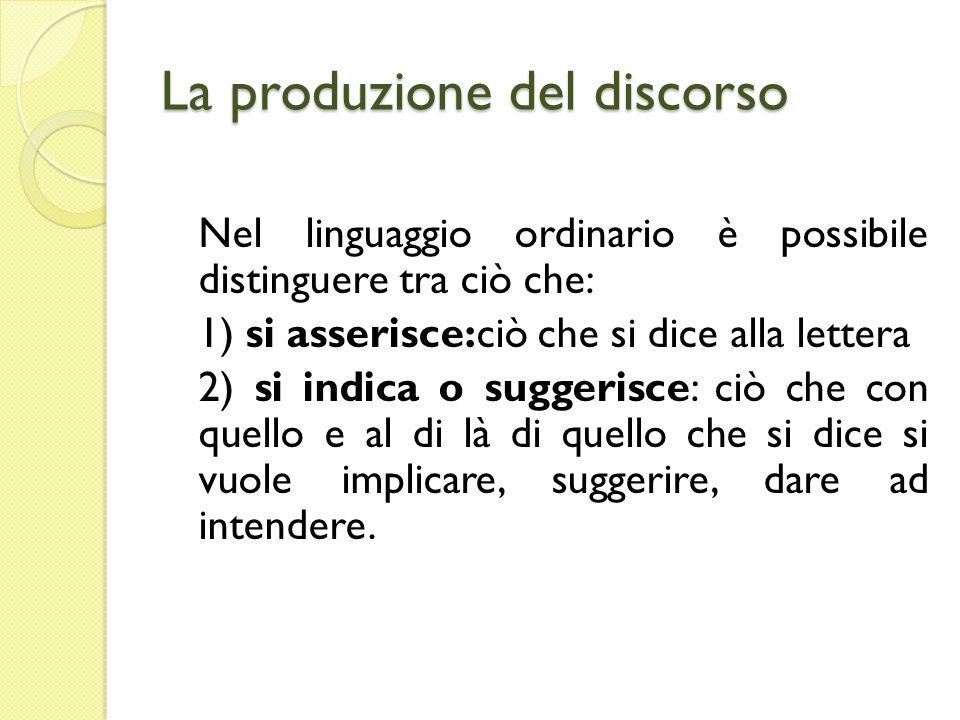La produzione del discorso Nel linguaggio ordinario è possibile distinguere tra ciò che: 1) si asserisce:ciò che si dice alla lettera 2) si indica o s