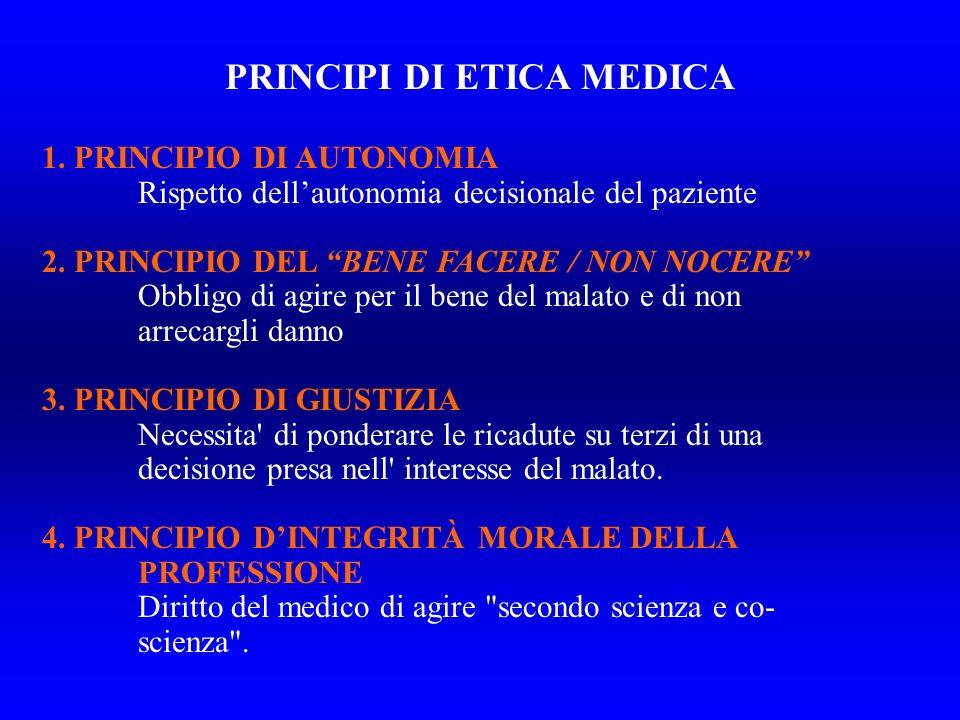 1.PRINCIPIO DI AUTONOMIA Rispetto dellautonomia decisionale del paziente 2.