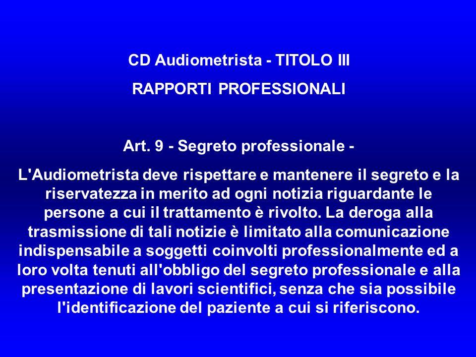 CD Audiometrista - TITOLO III RAPPORTI PROFESSIONALI Art.