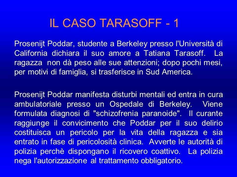 IL CASO TARASOFF - 1 Prosenijt Poddar, studente a Berkeley presso l Università di California dichiara il suo amore a Tatiana Tarasoff.