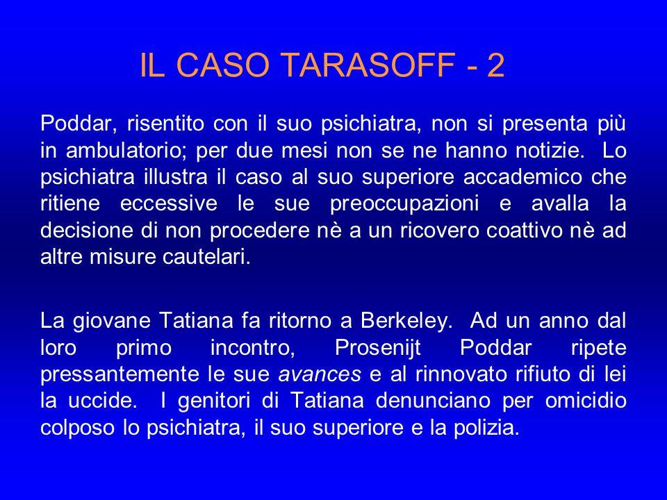 IL CASO TARASOFF - 2 Poddar, risentito con il suo psichiatra, non si presenta più in ambulatorio; per due mesi non se ne hanno notizie.