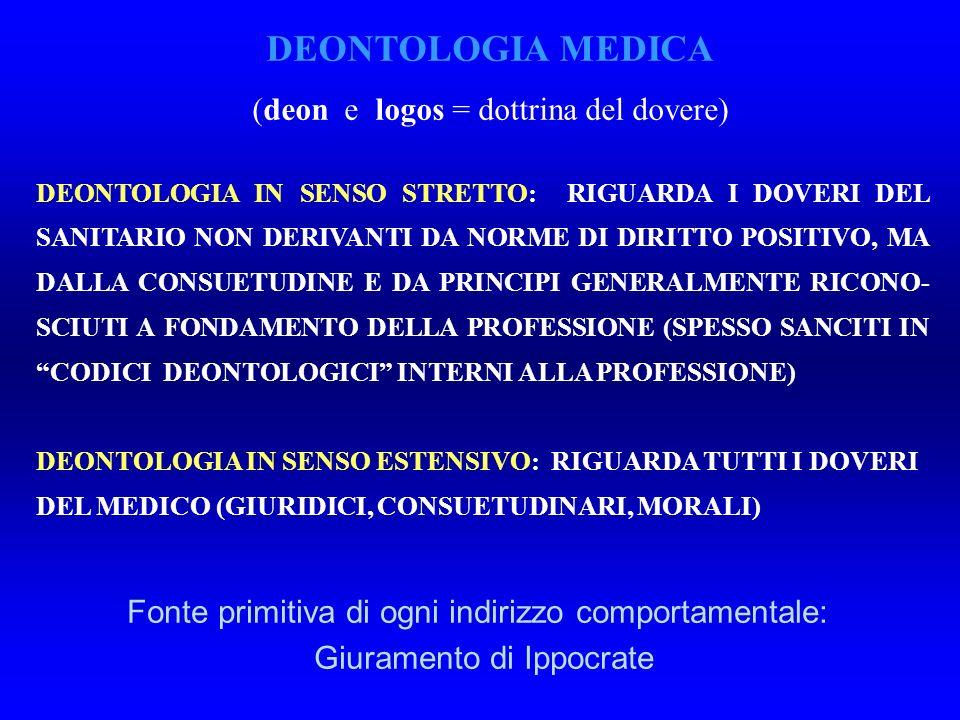 DEONTOLOGIA IN SENSO STRETTO: RIGUARDA I DOVERI DEL SANITARIO NON DERIVANTI DA NORME DI DIRITTO POSITIVO, MA DALLA CONSUETUDINE E DA PRINCIPI GENERALMENTE RICONO- SCIUTI A FONDAMENTO DELLA PROFESSIONE (SPESSO SANCITI IN CODICI DEONTOLOGICI INTERNI ALLA PROFESSIONE) DEONTOLOGIA IN SENSO ESTENSIVO: RIGUARDA TUTTI I DOVERI DEL MEDICO (GIURIDICI, CONSUETUDINARI, MORALI) DEONTOLOGIA MEDICA (deon e logos = dottrina del dovere) Fonte primitiva di ogni indirizzo comportamentale: Giuramento di Ippocrate