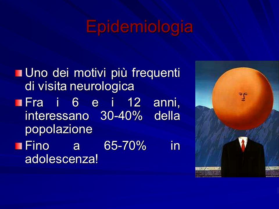 Epidemiologia Uno dei motivi più frequenti di visita neurologica Fra i 6 e i 12 anni, interessano 30-40% della popolazione Fino a 65-70% in adolescenz