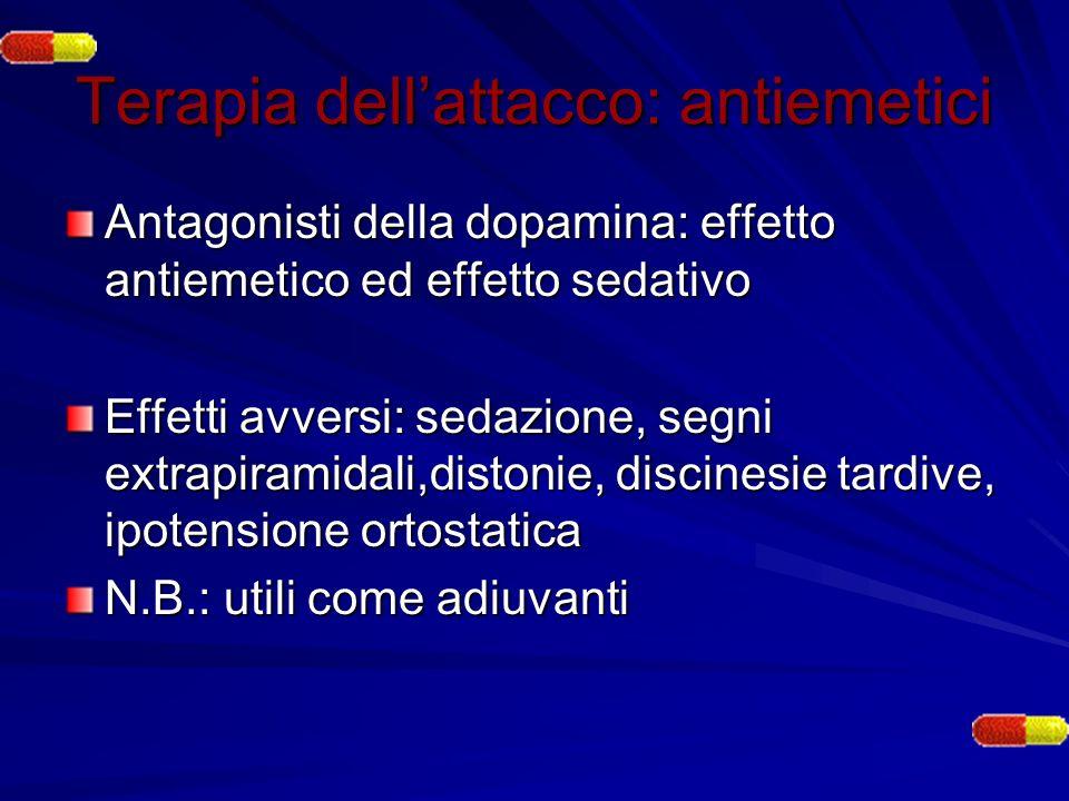 Terapia dellattacco: antiemetici Antagonisti della dopamina: effetto antiemetico ed effetto sedativo Effetti avversi: sedazione, segni extrapiramidali