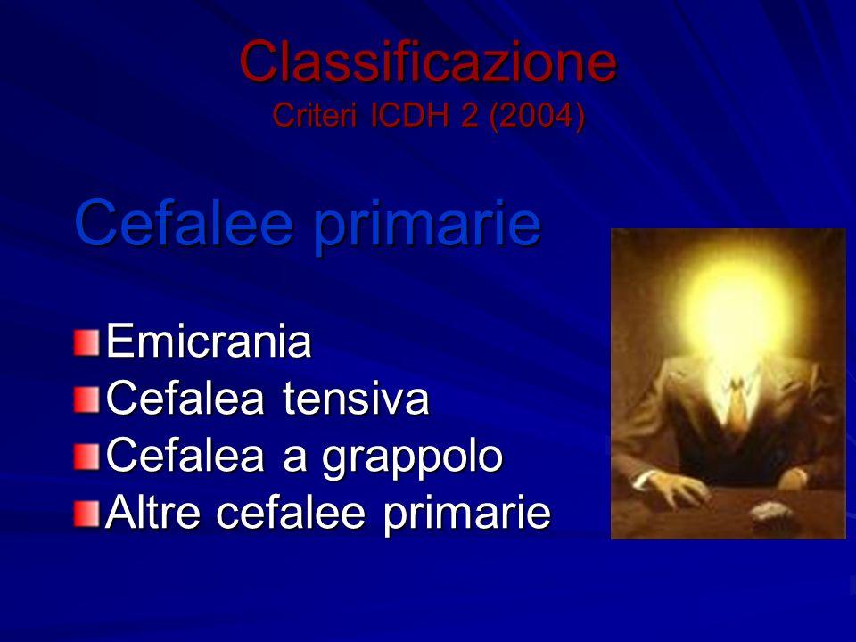 Classificazione Criteri ICDH 2 (2004) Cefalee primarie Emicrania Cefalea tensiva Cefalea a grappolo Altre cefalee primarie