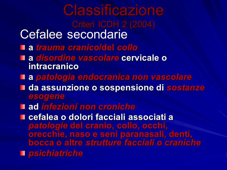 Classificazione Criteri ICDH 2 (2004) Cefalee secondarie a trauma cranico/del collo a disordine vascolare cervicale o intracranico a patologia endocra