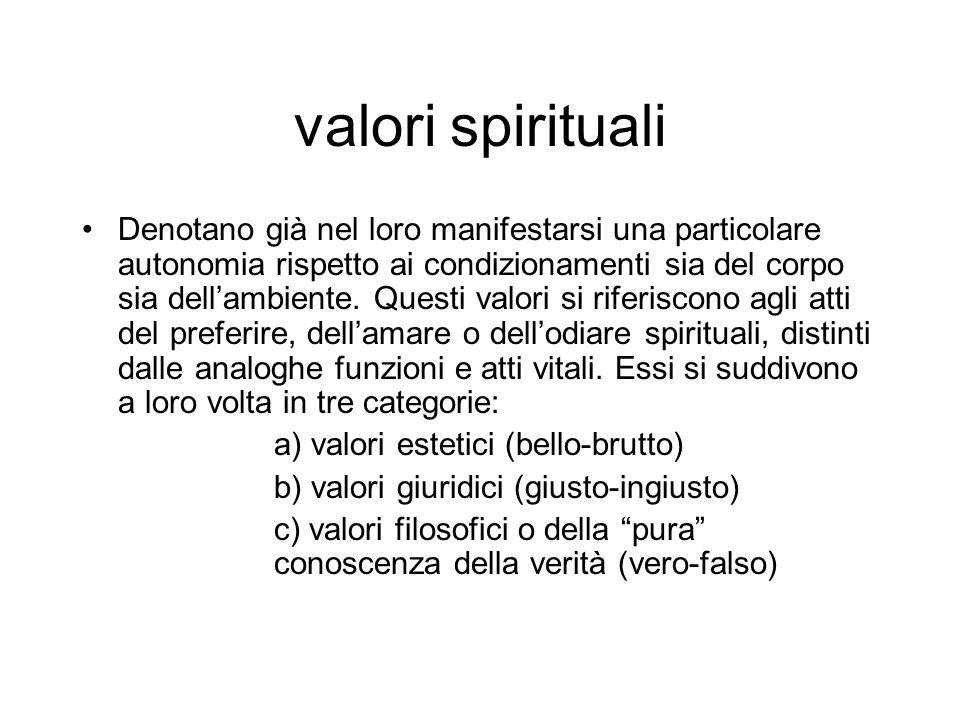 valori spirituali Denotano già nel loro manifestarsi una particolare autonomia rispetto ai condizionamenti sia del corpo sia dellambiente. Questi valo