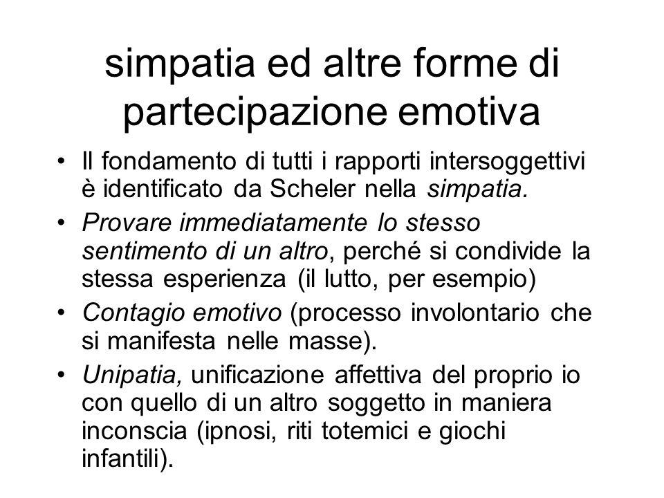 simpatia ed altre forme di partecipazione emotiva Il fondamento di tutti i rapporti intersoggettivi è identificato da Scheler nella simpatia. Provare