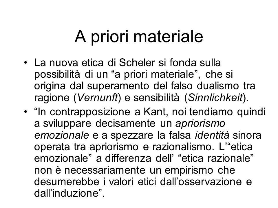 A priori materiale La nuova etica di Scheler si fonda sulla possibilità di un a priori materiale, che si origina dal superamento del falso dualismo tr