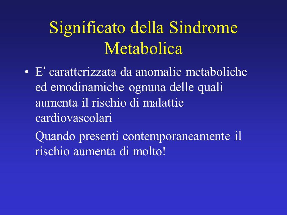 Significato della Sindrome Metabolica E caratterizzata da anomalie metaboliche ed emodinamiche ognuna delle quali aumenta il rischio di malattie cardi