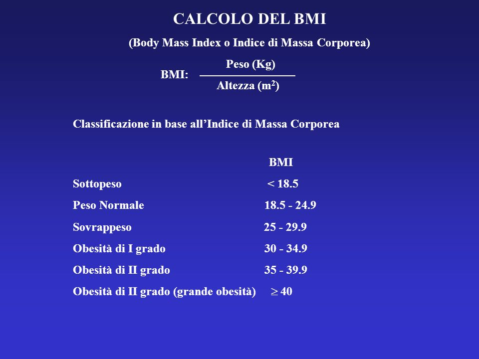 CALCOLO DEL BMI (Body Mass Index o Indice di Massa Corporea) Peso (Kg) Altezza (m 2 ) Classificazione in base allIndice di Massa Corporea BMI Sottopes