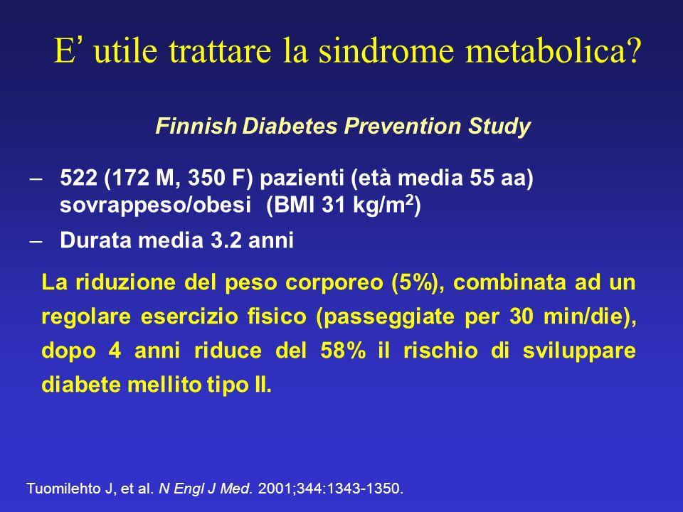 E utile trattare la sindrome metabolica? –522 (172 M, 350 F) pazienti (età media 55 aa) sovrappeso/obesi (BMI 31 kg/m 2 ) –Durata media 3.2 anni Tuomi