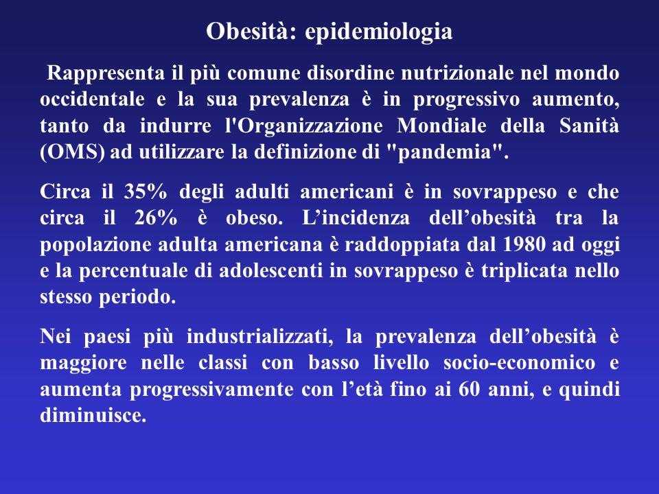Obesità: epidemiologia Rappresenta il più comune disordine nutrizionale nel mondo occidentale e la sua prevalenza è in progressivo aumento, tanto da i