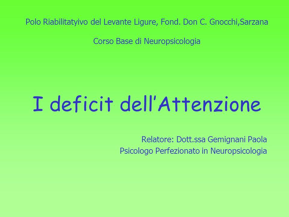 Polo Riabilitatyivo del Levante Ligure, Fond. Don C. Gnocchi,Sarzana Corso Base di Neuropsicologia I deficit dellAttenzione Relatore: Dott.ssa Gemigna