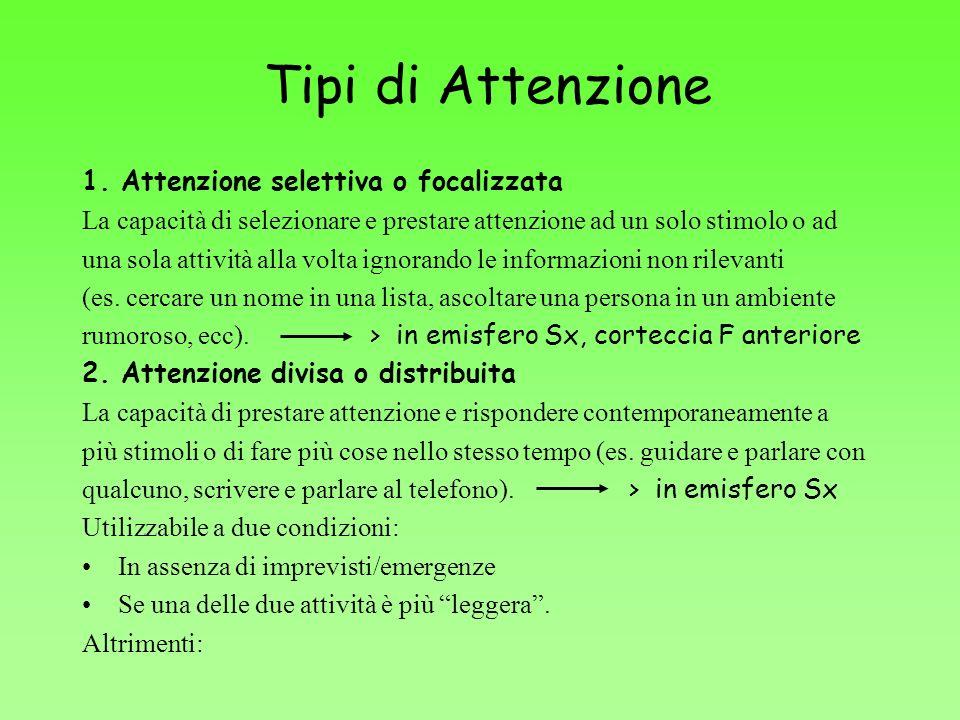 Tipi di Attenzione 1. Attenzione selettiva o focalizzata La capacità di selezionare e prestare attenzione ad un solo stimolo o ad una sola attività al