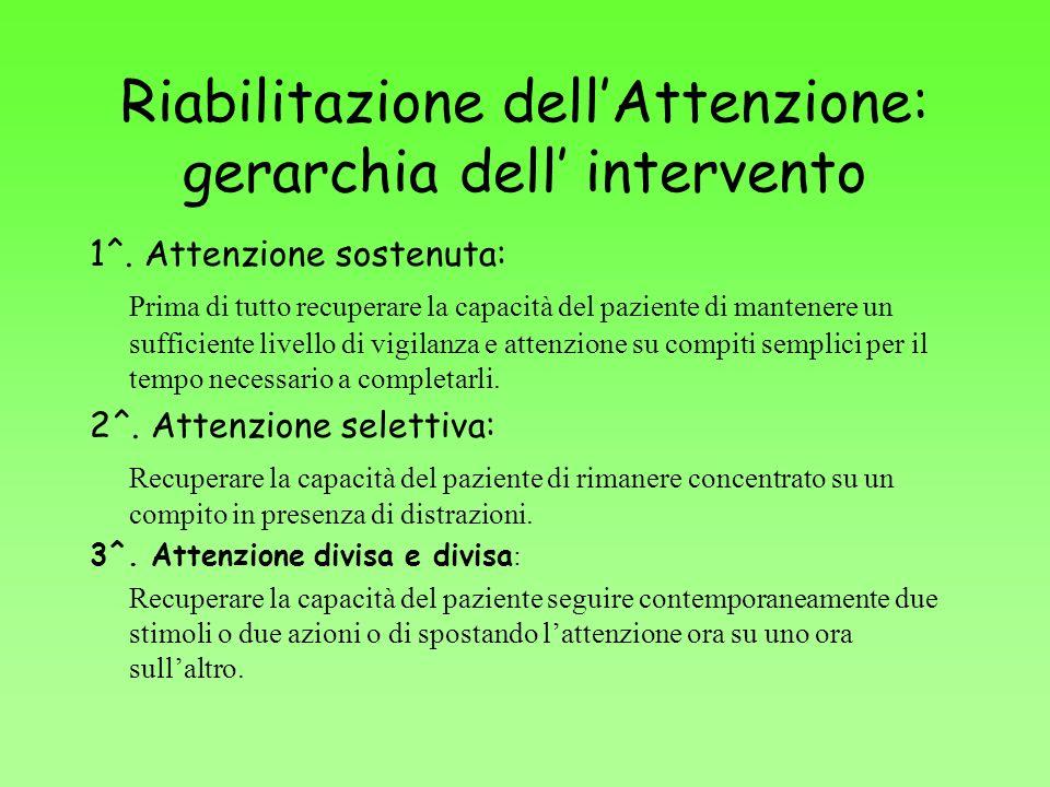 Riabilitazione dellAttenzione: gerarchia dell intervento 1^. Attenzione sostenuta: Prima di tutto recuperare la capacità del paziente di mantenere un