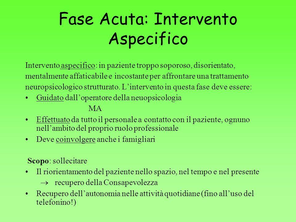 Fase Acuta: Intervento Aspecifico Intervento aspecifico: in paziente troppo soporoso, disorientato, mentalmente affaticabile e incostante per affronta