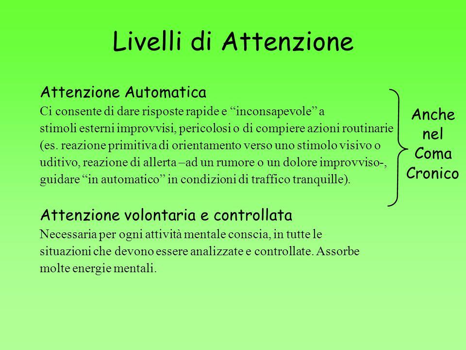 Livelli di Attenzione Attenzione Automatica Ci consente di dare risposte rapide e inconsapevole a stimoli esterni improvvisi, pericolosi o di compiere