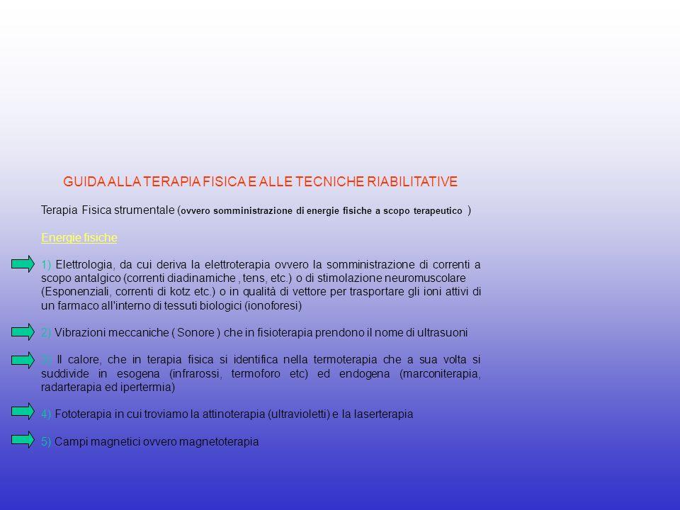 GUIDA ALLA TERAPIA FISICA E ALLE TECNICHE RIABILITATIVE Terapia Fisica strumentale ( ovvero somministrazione di energie fisiche a scopo terapeutico )