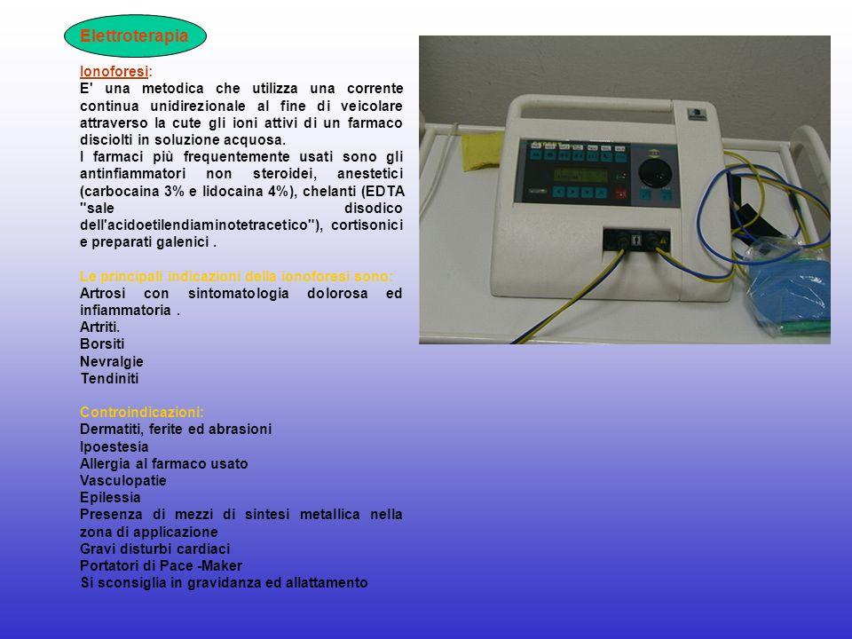 Elettroterapia Ionoforesi: E' una metodica che utilizza una corrente continua unidirezionale al fine di veicolare attraverso la cute gli ioni attivi d