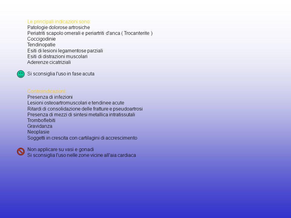 Le principali indicazioni sono: Patologie dolorose artrosiche Periatriti scapolo omerali e periartriti d'anca ( Trocanterite ) Coccigodinie Tendinopat