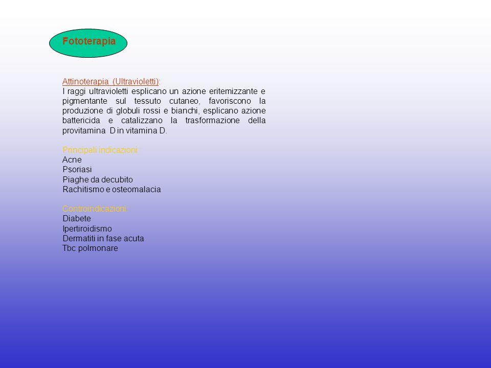 Fototerapia Attinoterapia (Ultravioletti): I raggi ultravioletti esplicano un azione eritemizzante e pigmentante sul tessuto cutaneo, favoriscono la p