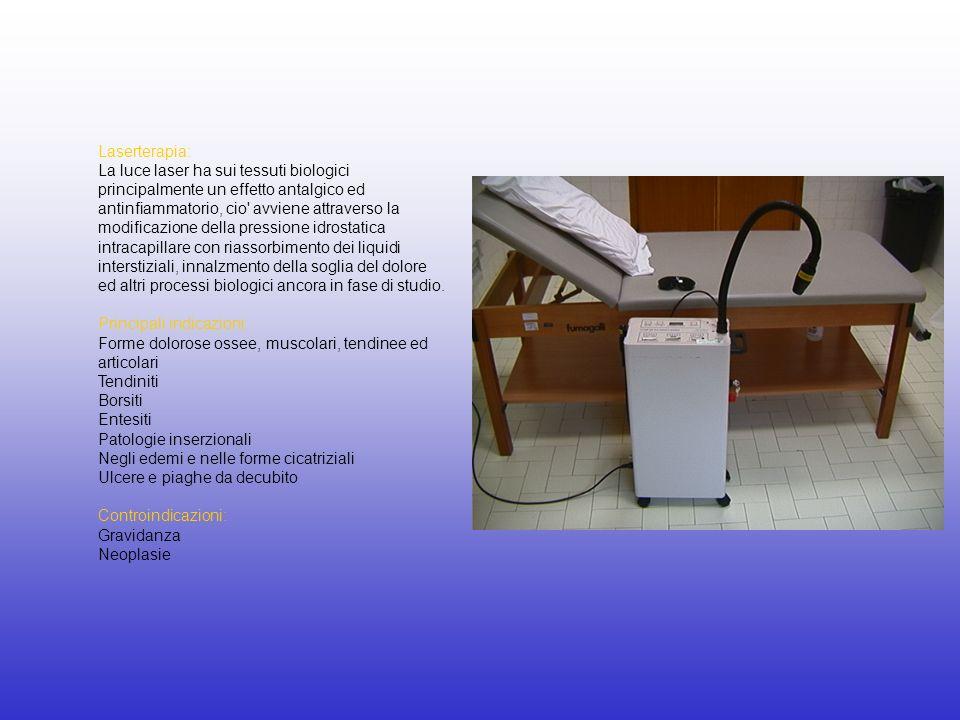 Laserterapia: La luce laser ha sui tessuti biologici principalmente un effetto antalgico ed antinfiammatorio, cio' avviene attraverso la modificazione
