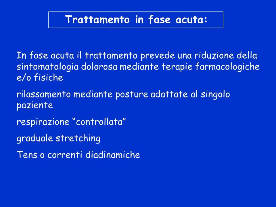 Trattamento in fase acuta: In fase acuta il trattamento prevede una riduzione della sintomatologia dolorosa mediante terapie farmacologiche e/o fisich