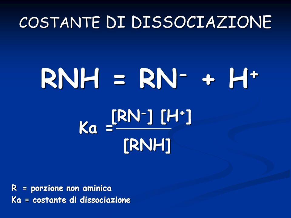 R = porzione non aminica Ka = costante di dissociazione [RN - ] [H + ] [RN - ] [H + ] Ka = [RNH] RNH = RN - + H + COSTANTE DI DISSOCIAZIONE
