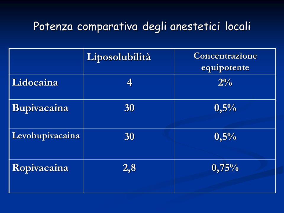 Potenza comparativa degli anestetici locali Liposolubilità Concentrazione equipotente Lidocaina42% Bupivacaina300,5% Levobupivacaina300,5% Ropivacaina