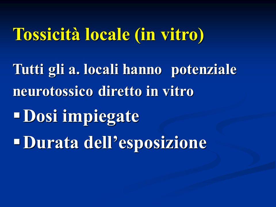 Tossicità locale (in vitro) Tutti gli a. locali hanno potenziale neurotossico diretto in vitro Dosi impiegate Dosi impiegate Durata dellesposizione Du