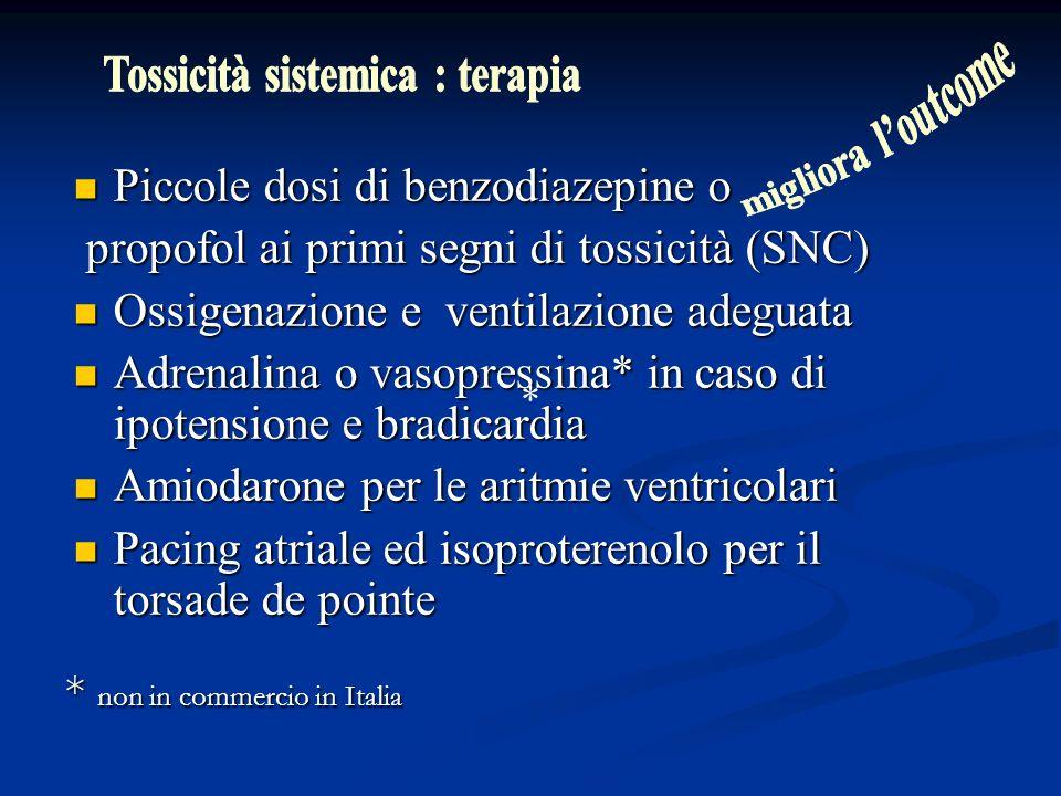 Piccole dosi di benzodiazepine o Piccole dosi di benzodiazepine o propofol ai primi segni di tossicità (SNC) propofol ai primi segni di tossicità (SNC