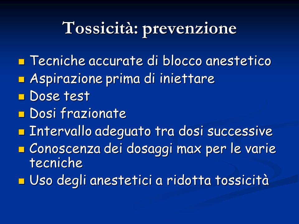 Tossicità: prevenzione Tecniche accurate di blocco anestetico Tecniche accurate di blocco anestetico Aspirazione prima di iniettare Aspirazione prima