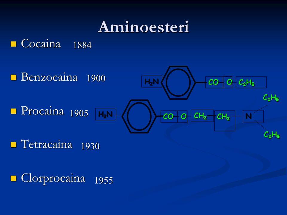 Eliminazione (Diversa nelle due classi di A.L.) Aminoamidi: Metabolismo epatico Aminoesteri : Idrolisi plasmatica dalle pseudocolinesterasi (procaina) Idrolisi + metabolismo epatico (cocaina)