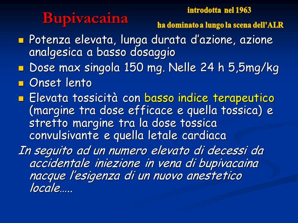 Bupivacaina Potenza elevata, lunga durata dazione, azione analgesica a basso dosaggio Potenza elevata, lunga durata dazione, azione analgesica a basso