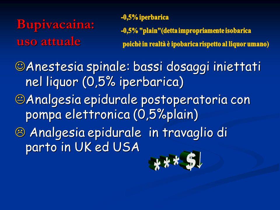 Bupivacaina: uso attuale Anestesia spinale: bassi dosaggi iniettati nel liquor (0,5% iperbarica) Anestesia spinale: bassi dosaggi iniettati nel liquor