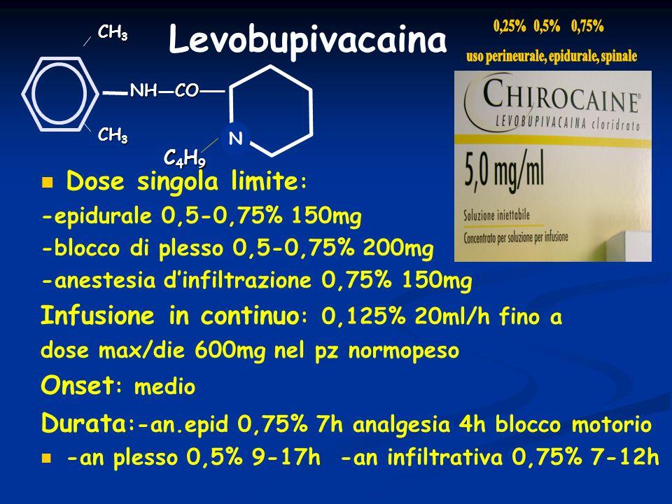 NHCO CH 3 Levobupivacaina N C4H9C4H9C4H9C4H9 Dose singola limite : -epidurale 0,5-0,75% 150mg -blocco di plesso 0,5-0,75% 200mg -anestesia dinfiltrazi