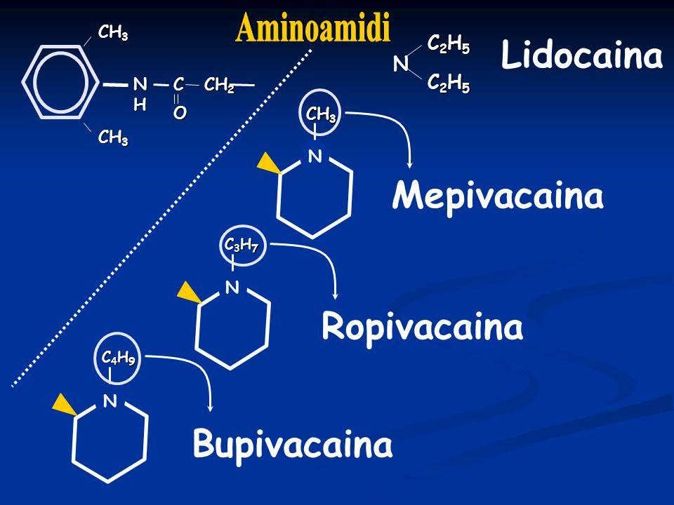 Ropivacaina Analgesia Analgesia Epidurale analgesia postoperatoria e del parto 0,2%-0,15% blocco sensitivo = a Bupivacaina blocco motorio < blocco motorio < Top up: bolo 20 -40 mg e top up successivi 20 -30 mg Infusione continua 5-8 ml (lombare) 4-8 ml (toracica) Infiltrazione delle ferite 100-175 mg Analgesia perineurale e plessica 0,2-0,4%