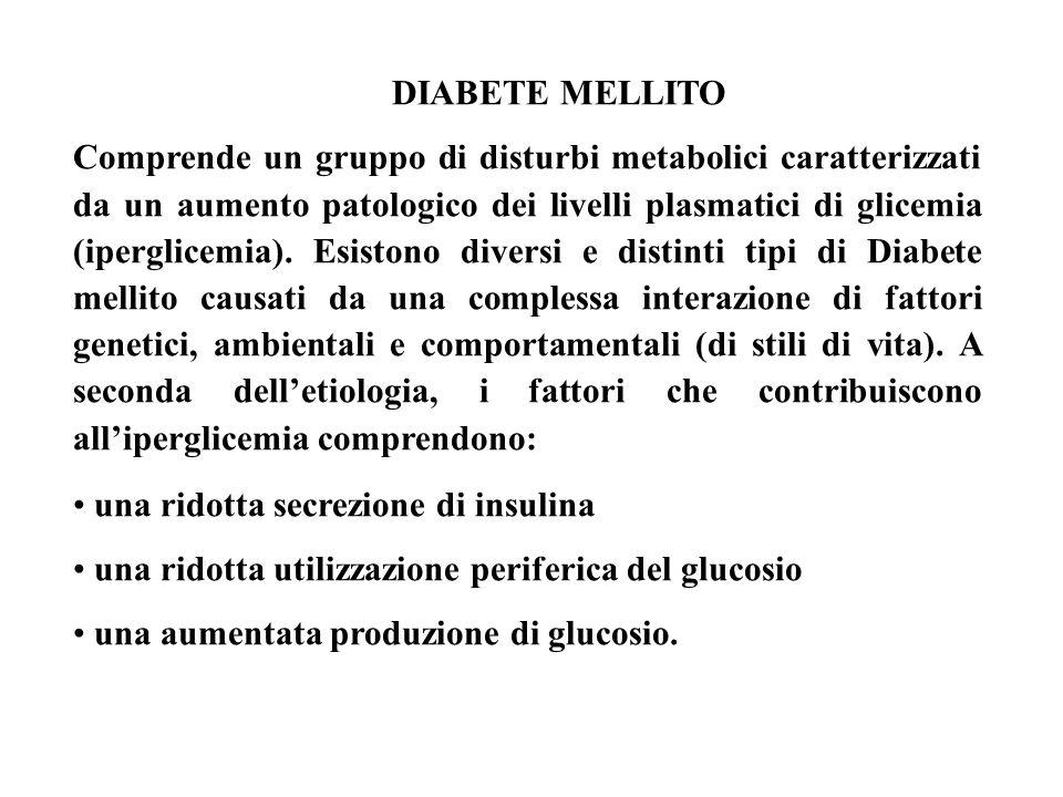 DIABETE MELLITO Comprende un gruppo di disturbi metabolici caratterizzati da un aumento patologico dei livelli plasmatici di glicemia (iperglicemia).