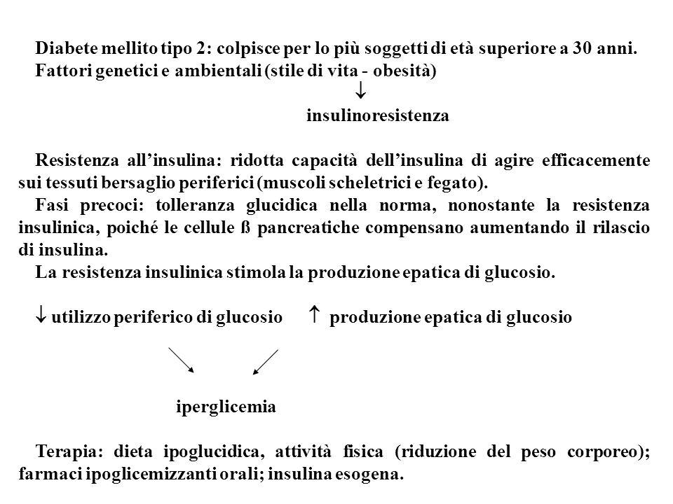 Diabete mellito tipo 2: colpisce per lo più soggetti di età superiore a 30 anni. Fattori genetici e ambientali (stile di vita - obesità) insulinoresis
